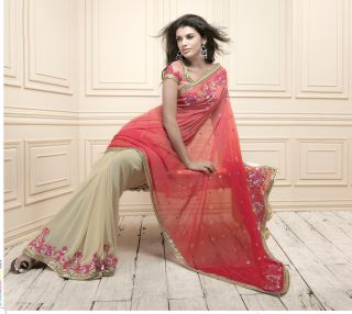 Indian Designer Manish Malhotra Peach Red Light Beige