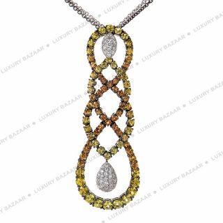 Salavetti 18K White Gold Multi Sapphire and Diamond Necklace