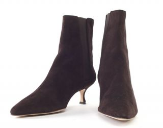 Manolo Blahnik Brown Suede Ankle Boots New 9 5