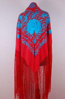 True Flamenco Red Turquoise Piano Shawl Manton