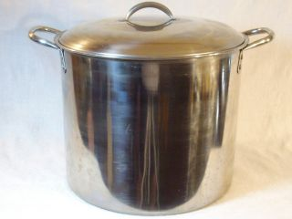Vintage 16 Qt Stainless Steel Stock Pot Canner Cooker