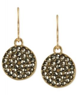 Kenneth Cole New York Earrings, Gold Tone Glass Crystal Circle Drop