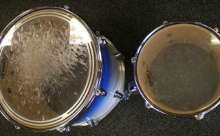 Used Mapex Pro M Kick Drum Rack Toms Shells Blue Ice