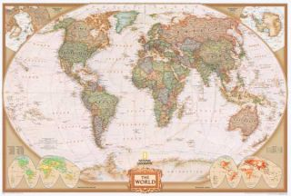 30x43 World Modern Day Antique Wall Map Framed Edition