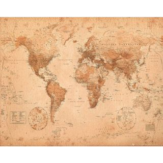 World Map Poster Antique Globe Atlas Travel Sepia Teach