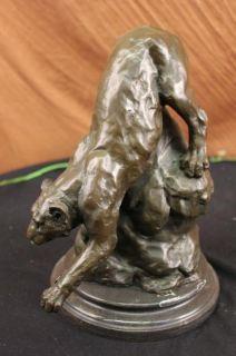 Barye Mountain Lion on A Rock Bronze Figurine Art Deco Marble Base