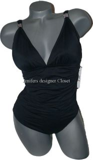 Carmen Marc Valvo Swimsuit Black Shirred Ruched with Silver Flattering