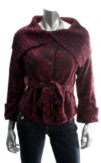 Marc by Marc Jacobs Womens Merlot Multi Belted Cardigan Sweater Sz XS