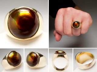 Mens Large Fire Agate Ring Round Cabochon Solid 14k Gold Heavy Estate