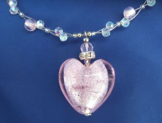 Love Heart Pink Murano Glass Necklace Marano Valentine Rosafarbene