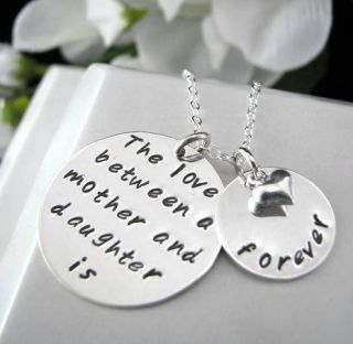 Hand Stamped 2 Charms Daughter Mother Forever Necklace Heart