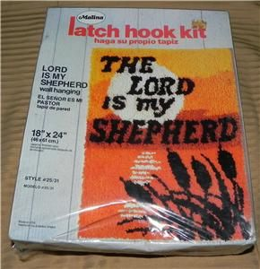 Malina Vintage The Lord Is My Shepherd Latch Hook Kit Rug Wall Hanging