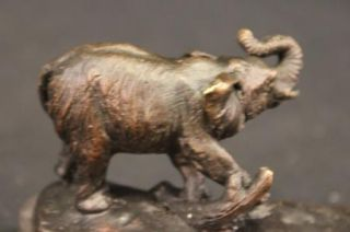 Bronze Metal Statue A Herd of African Elephants Sculpture Marble Base