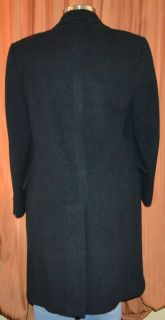 Black Wool Trench Double Breasted Coat Overcoat Jacket