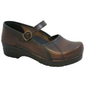 New Sanita Marcelle Mary Jane Clogs in Brown Leather