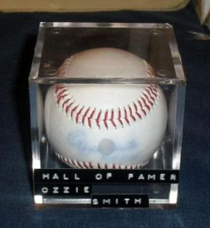 Hand Signed Ozzie Smith H O F Baseball w Cube w COA 161012
