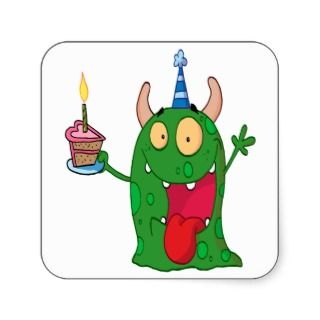 funny birthday monster cartoon character square stickers