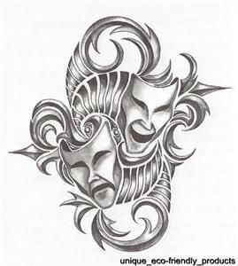 Mardi Gras Faces Masks Tribal Temporary Tattoo