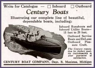 Super 1939 Ad for Century Motor Boats of Manistee MI