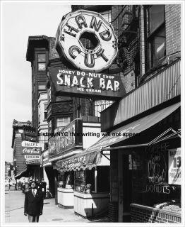 1940s Black Man at Donut Shop Street Scene Photo
