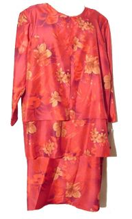 Margot J Silky Chinese Red Floral Shantung Dress 28W