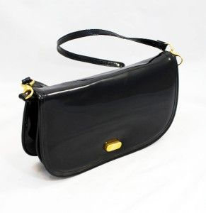 Vintage Margolin NYC Black Patent Convertible Clutch Dressy Shoulder