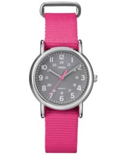 Timex Watch, Womens Weekender Dark Pink Slip Thru Nylon Strap 31mm