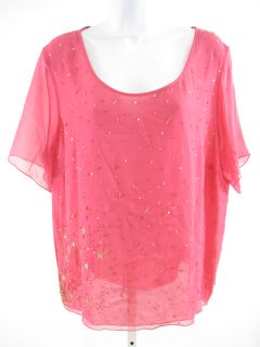 Marina Rinaldi Pink Sheer Silk Embellished Blouse Top M L XL