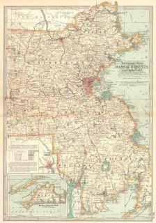 USA Massachusetts East Old Antique Map 1897