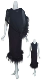 Marina Rinaldi Exquisite Black Silk Marabou Feathers Gown Dress Womens