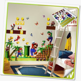 Mario Wall Stickers Removable Decor Deco Art Nursery Boys Bedroom Kids