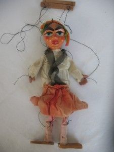 Vintage Paper Mache String Puppet Marionette Wood Wooden Doll Handmade