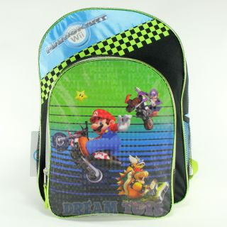 Super Mario Brothers Green Checkered 16 Backpack Boys School Book Bag