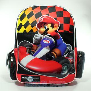 Super Mario Brothers Checkered Mario Kart 16 Large Backpack   Bag