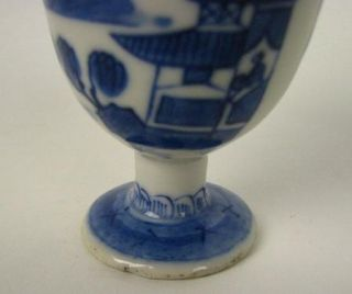Antique Blue and White Canton Chinese Export Porcelain Egg Cup