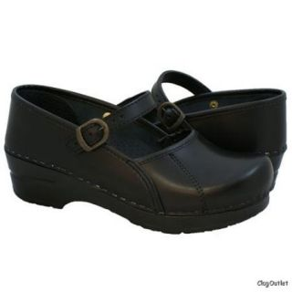 Sanita Marcelle Mary Jane Clogs in Black Cabrio New