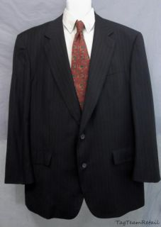 Brooks Brothers Mens Navy Blue Pinstripe Suit Coat Blazer Sz 48 L
