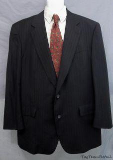 Brooks Broers Mens Navy Blue Pinstripe Suit Coat Blazer Sz 48 L