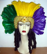 Open Face Feathered Mardi Gras Headpiece 0075