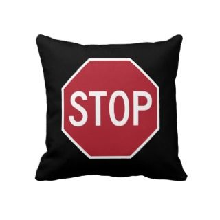Stop Sign Red and Black American MoJo Pillows