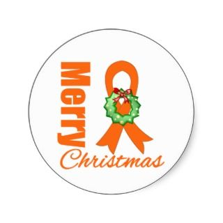 Leukemia Awareness Merry Christmas Ribbon Round Stickers