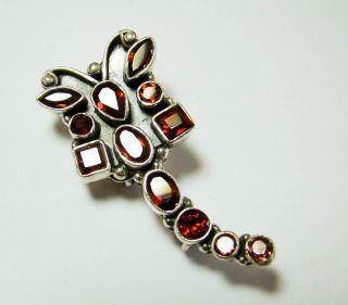 Sterling Silver Genuine Garnet Dragonfly Pin Pendant
