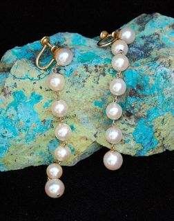 Vtg Mod Long Pearl Strand Earrings Gold Fill Cultured