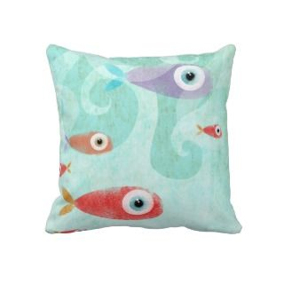 Fishes swirl waves ocean Pillow