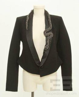 Markus Lupfer Black Wool and Silk Satin Jeweled Snake Trim Jacket Size