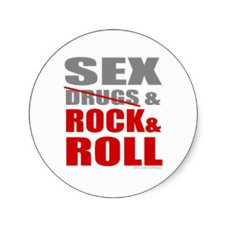 Mens Womens SEXDRUGS & ROCK ROLL Round Sticker