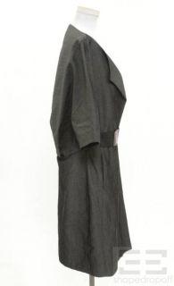 Marni Grey Brown Leather Short Sleeve Jacket Size 44