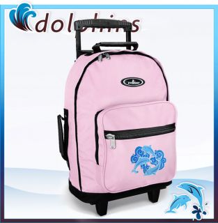 Cute Dolphin Pink Rolling Backpack Travel or School Bag
