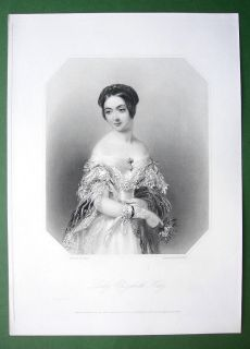 Queen Victoria Court Beauty Lady Elizabeth Hay Superb Antique Print