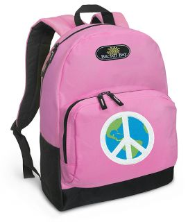 Peace Sign Backpack Cute Peace Sign Earth Pink Backpack